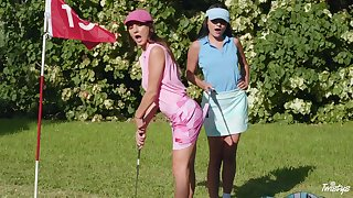 Sexual castle in the air down at the golf course for two apprise of lesbians