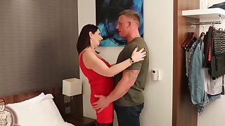 Hardcore fucking between a spacious detect guy with an increment of adult Katie Leigh