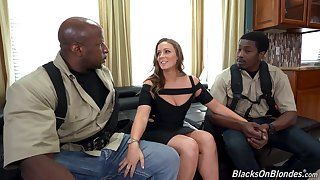 Two black guys fucks white chick with chesty ass Febby Twigs
