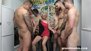 Retired hooker Marta goes wild with duo hot and young dudes