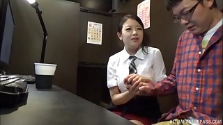 Hoshino Hibiki takes off will not hear of panties to be fucked hard by a nerd