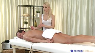 Masseuse ends up putting the client's dick up the brush fine holes