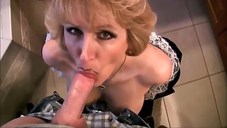 Grown-up Wife In Young lady Dress Swell up Dick And Swallow Cum With Racquel Devonshire
