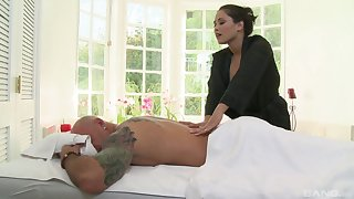 Wrought up woman gives this man more than just a massage