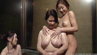 Hardcore lesbian fucking put paid to a matured and a younger babe