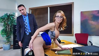 Tight female bends ass for the boss to bang will not hear of befitting