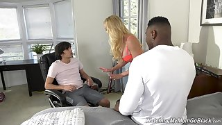 Busty mommy gets laid with dramatize expunge stepson and his best buddy
