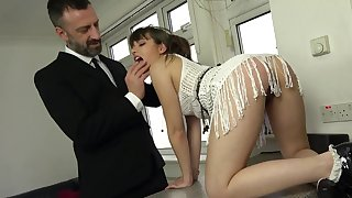 The locate suits her tiny holes in a categorically dominant anal shag
