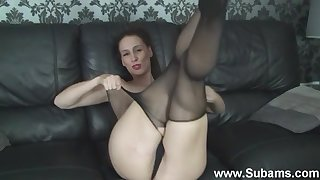 Naughty Cheryl B loves playing with will not hear of pussy in X-rated pantyhose