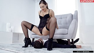 Mistress Tina Kay reminds a submissive man who along to big-shot is