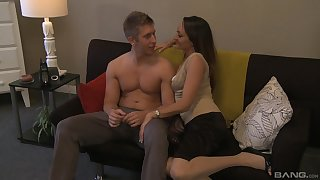 Hot wife spreads legs be advantageous to stepson's merciless cock, and loves it
