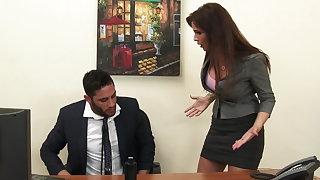 Sexy milf boss Syren De Mer exploits staff member for dick hd