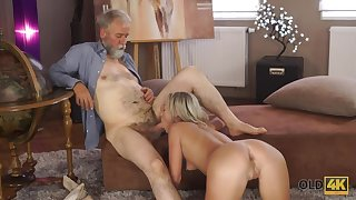 An old fart fucks a pretty young woman at one's disposal home and that chick is so horny