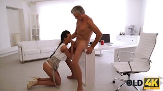 Tanned forfeit nympho is all nude and goes crazy riding fat cock