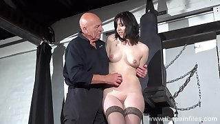 Horny old authority introduces a hot babe at hand some light BDSM play