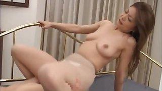 Hardcore dicking with a Japanese girl wearing nylon pantyhose