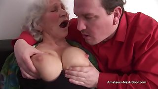 Granny Norma Fucks And Blowing A Hard Cock - ejaculation