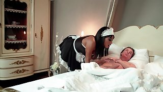 Erotic anal for the ebony maid with the older master
