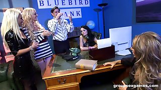 Goup sex with one lucky alms-man and Gemma Massey with her friends