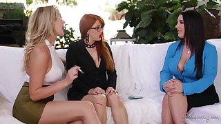 Lustful pornstar Angela Uninspiring loves having sex with her coworkers