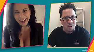 Dude chats on the webcam with a mature pornstar Joanna Show