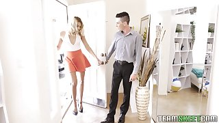 Slender and tall blonde Chanel Grey is fucked by two horny guys